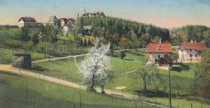 Sonnenvilla und Villa Bergfried mit Kurhaus um 1910