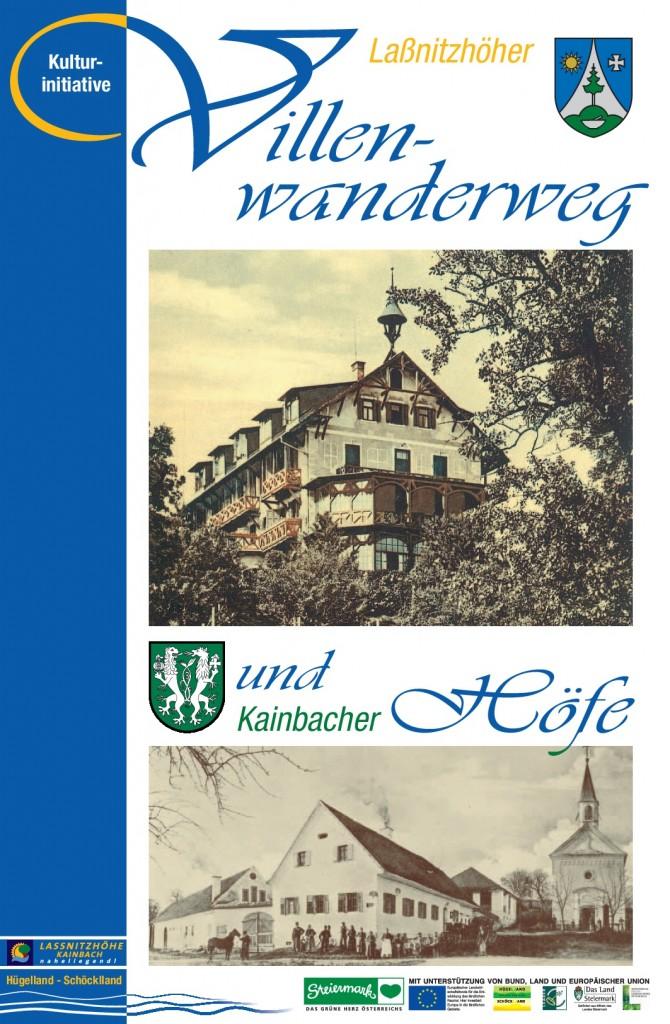 Titelseite des Folders Laßnitzhöher Villenwanderweg und Kainbacher Höfe 2015
