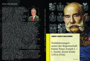 Titel- und Rückseite Nobilitierungen unter der Herrschaft Kaiser Franz Joseph I.