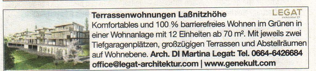 Anzeige Terassenwohnungen Laßnitzhöhe in der Woche