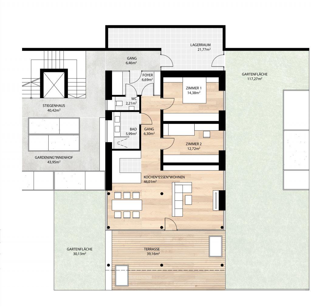 einer der beiden Wohnungstypen: Grundriß Wohnung Typ B