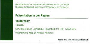 Rechte Innenseite der Einladung zur Eröffnung des Laßnitzhöher Villenwanderweges 2012