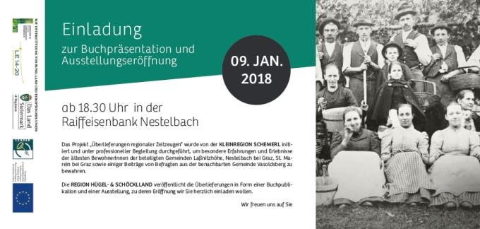 Rückseite der Einladung zur Buchpräsentation und Ausstellungseröffnung regionaler Zeitzeugen - Oral History