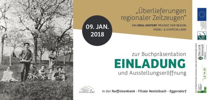Vorderseite der Einladung zur Ausstellung der Oral History in der Kleinregion Schemerl