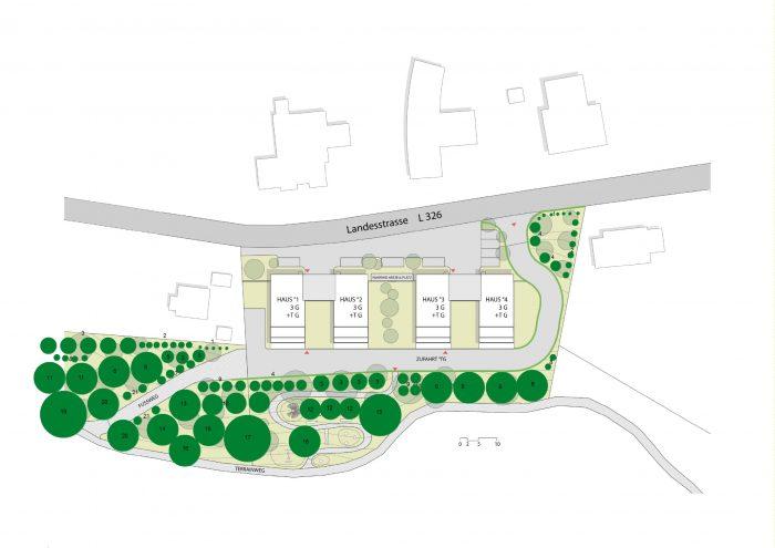 Entwurf für die Grünraumbepflamzung
