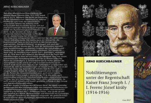 Titel- und Rückseite Nobilitierungen unter Kaiser Franz Josef I.