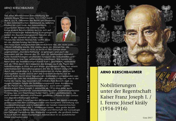 Titel- und Rückseite des Buches Nobilitierungen unter Kaiser Franz Joseph I.
