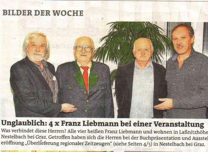4 x Franz Liebmann bei der Eröffnung der Ausstellung zur Oral History