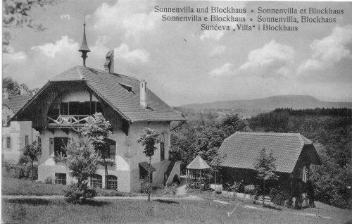 Sonnenvilla mit Blockhaus um 1910