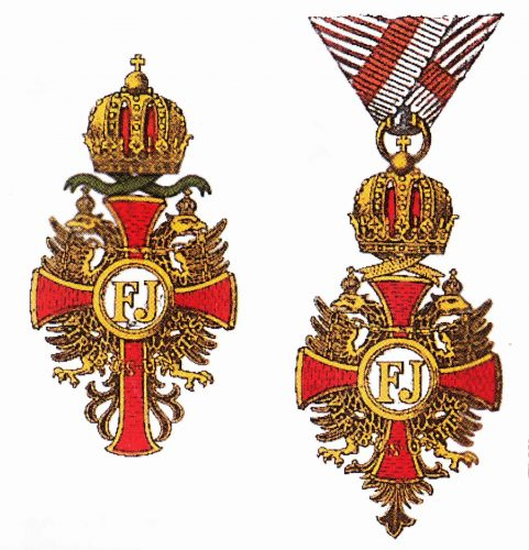 Offizierskreuz mit der Kriegsdekoration und Ritterkreuz (rechts) des kais. österr. Franz-Joseph-Ordens