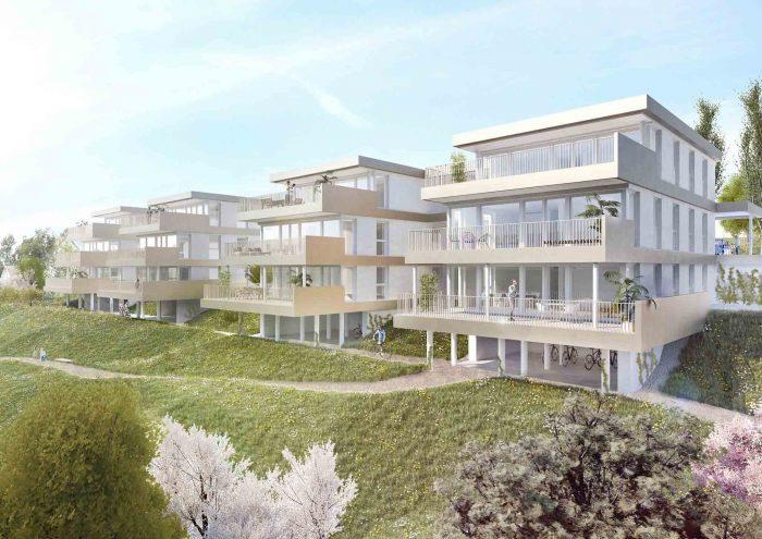 Außenansicht Terrassenwohnungen Laßnitzhöhe Blick von NO