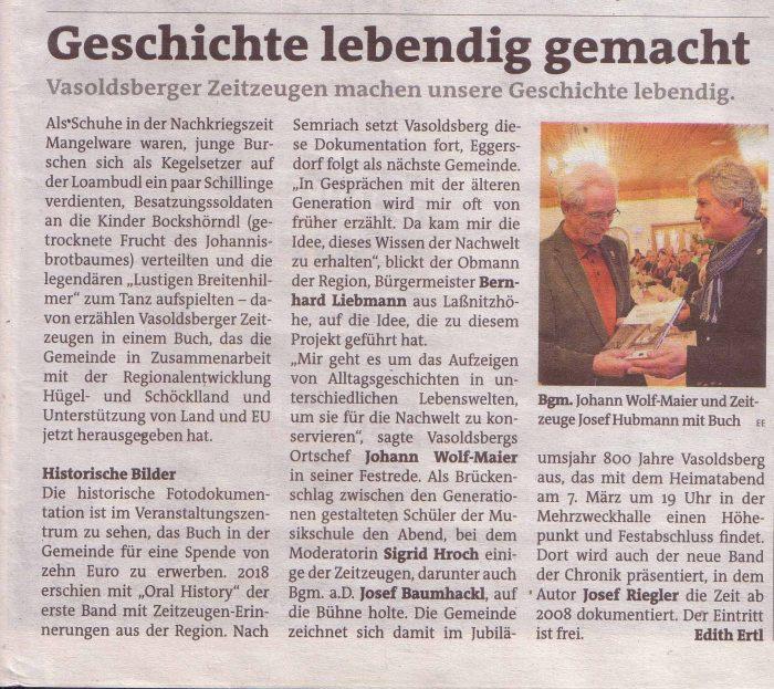 Artikel zur Präsentation des Bildbandes am 28.2.2020 in Vasoldsberg