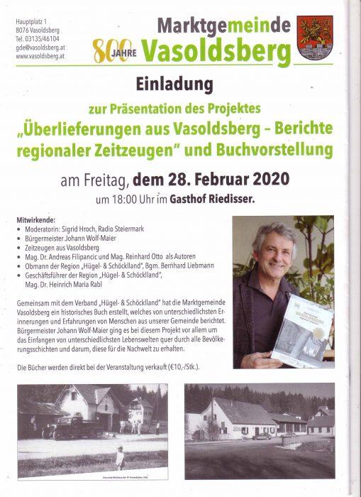 """Marktgemeinde Vasoldsberg: Einladung zur Präsentation des Projektes """" Überlieferungen aus Vasoldsberg - Berichte regionaler Zeitzeugen"""" und Buchvorstellung"""