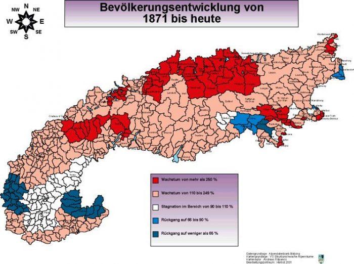 Bevölkerungsentwicklung von 1871 bis heute im Alpenraum